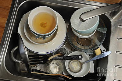 Dirty Dishes In Sink Print by Sami Sarkis