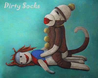 Dirty Painting - Dirty Socks 4 With Lettering by Leah Saulnier The Painting Maniac