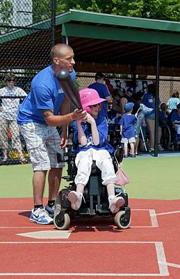 Softball Photograph - Disabled Girl Playing Baseball by Jim West