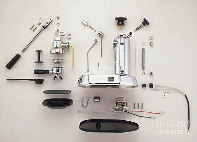 Disassembled Espresso Machine Print by Dave King / Dorling Kindersley / Pavoni SPA