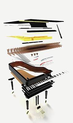 Disassembled Parts Of A Grand Piano Print by Dorling Kindersley/uig