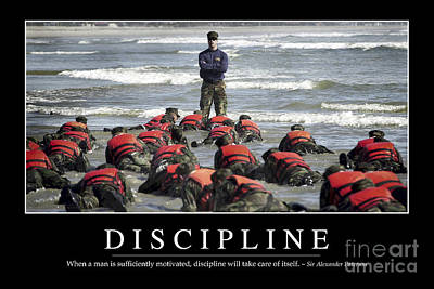 Adult Photograph - Discipline Inspirational Quote by Stocktrek Images