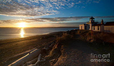 Discovery Park Lighthouse Sunset Print by Mike Reid
