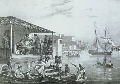 Slaves Drawing - Disembarkation, Engraved By Deroi by Johann Moritz Rugendas