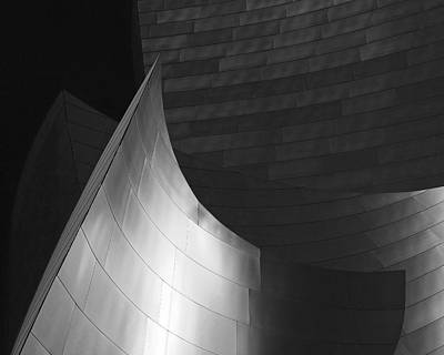 Disney Hall Abstract Black And White Print by Rona Black