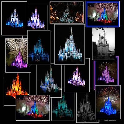 Disney Magic Kingdom Castle Collage Print by Thomas Woolworth
