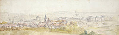 Rooftops Drawing - Distant View Of A Town With A Chateau by Adam Frans van der Meulen