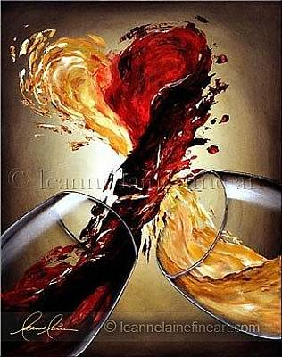 Wine Art Painting - Distill My Blushing Heart Wine Art Painting by Leanne Laine