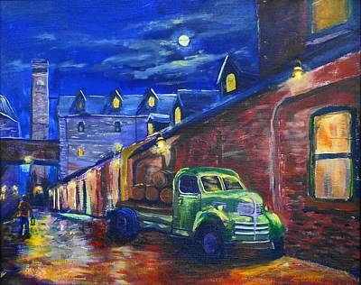Rain Barrel Painting - Distillery Night Watch by Brent Arlitt
