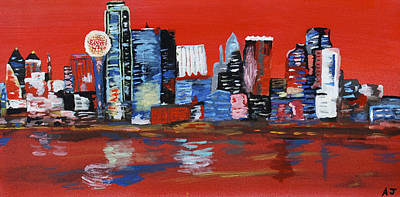 Dallas Skyline Painting - Distorted Dallas Skyline by Austin James