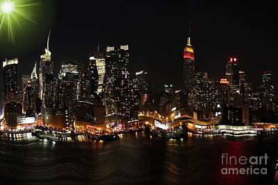 Manipulation Photograph - Distorted New York At Night by Sophie Vigneault