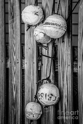 Decrepit Photograph - Distressed Buoys On Fencing Key West - Black And White by Ian Monk