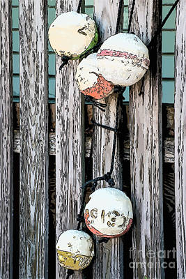 Liberal Digital Art - Distressed Buoys On Fencing Key West - Digital by Ian Monk