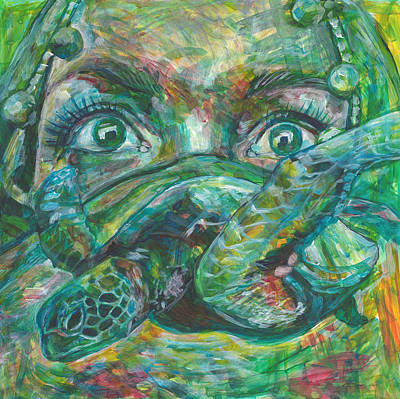 Turtle Mixed Media - Dive Into Your Fear by Elizabeth D'Angelo