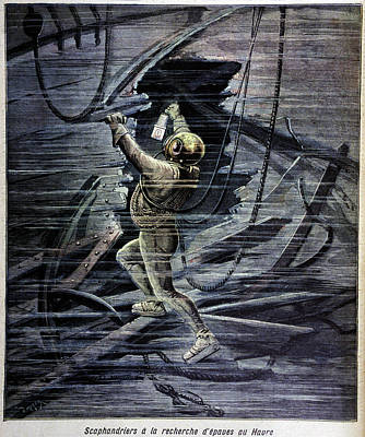 Diver Examining A Shipwreck Print by Cci Archives