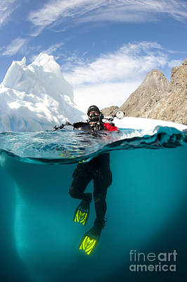 Diver In Front Of An Iceberg, Astrolabe Print by Steve Jones