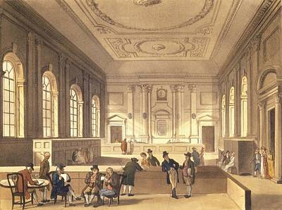 Company Drawing - Dividend Hall At South Sea House by T Rowlandson