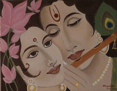 Merging Painting - Divine Musical Romance Of Radha Krishna With The Purity Of Lotus by Mounika Narreddy