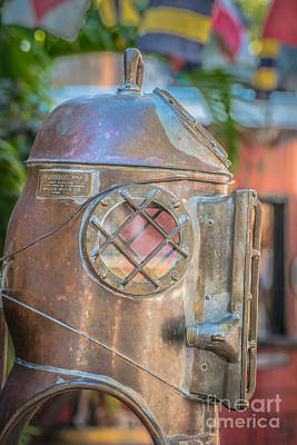 Diving Helmet Photograph - Diving Helmet Key West - Hdr Style by Ian Monk