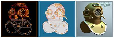 Diving Helmet Digital Art - Diving Helmet Mark V by Andrei SKY