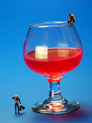 Outdoor Still Life Photograph - Diving In Red Wine Little People Big Worlds by Paul Ge