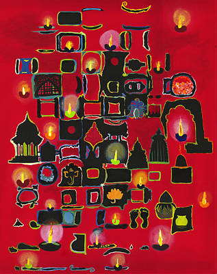 Diwali Diyas Print by Alika Kumar