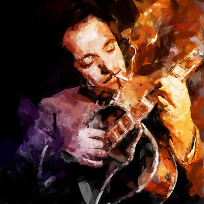 Reproduction Mixed Media - Django Reinhardt by Andy Whorewal