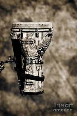 Congas Photograph - Djembe Or Djambe Africa Culture Drum In Sepia 3242.01 by M K  Miller