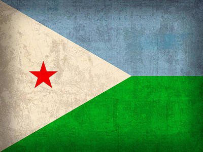 Flag Mixed Media - Djibouti Flag Vintage Distressed Finish by Design Turnpike