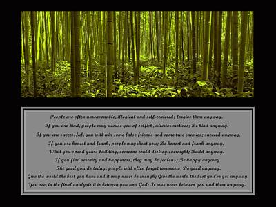 Bamboo Forest Photograph - Do It Anyway Bamboo Forest by David Dehner