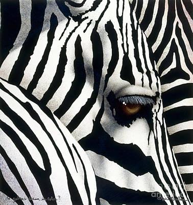 Zebra In Painting - do zebras dream in color? by Will Bullas by Will Bullas