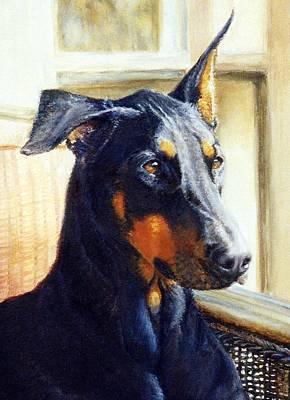 Doberman Drawing - Doberman Dog Portrait  by Olde Time  Mercantile