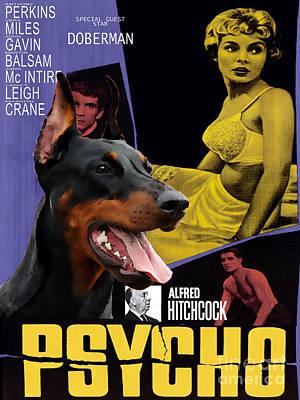 Doberman Art Painting - Doberman Pinscher Art Canvas Print - Psycho Movie Poster by Sandra Sij