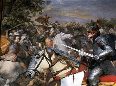 Doberman Art Painting - Doberman Pinscher Art Canvas Print - Swords And Glory  by Sandra Sij