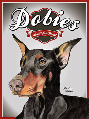 Doberman Painting - Dobies Built For Speed by Amelia Hunter