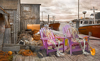 Skeleton Photograph - Dock Buddies by Betsy C Knapp