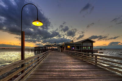 Night Lamp Photograph - Dock Lights At Jekyll Island by Debra and Dave Vanderlaan