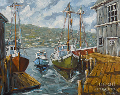 L Montreal Painting - Dockside Boats By Prankearts by Richard T Pranke