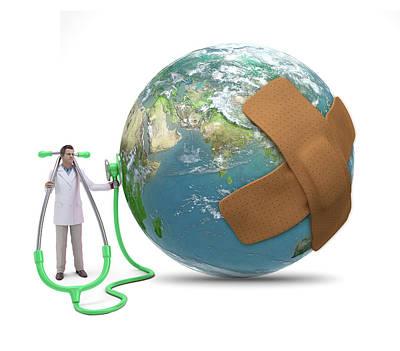 Doctor Examining Earth Print by Andrzej Wojcicki