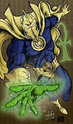 Ankh Drawing - Doctor Fate by John Ashton Golden