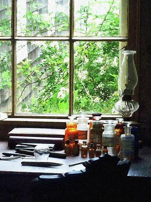 Doctor - Medicine And Hurricane Lamp Print by Susan Savad