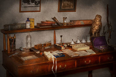 Doctor - Vet - The Desk Of A Veterinarian Print by Mike Savad