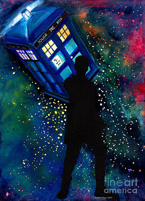 Outer Space Painting - Doctor Who Am I A Good Man by Jennifer Pavia