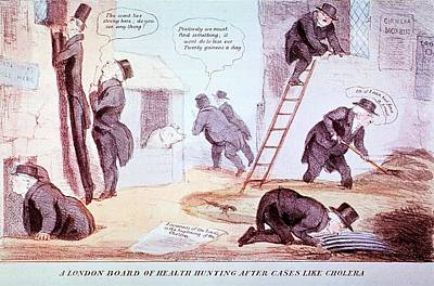 Doctors Investigating Cholera Print by National Library Of Medicine