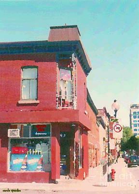 Epicerie Painting - Documenting Local Corner Stores Depanneur Paintings Montreal Art Pine Avenue Grocery Cspandau by Carole Spandau