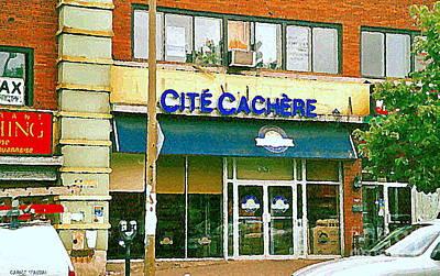 Montreal Chips Painting - Documenting Vintage Montreal Kosher Deli Paintings Cite Cachere Van Horne Storefront Carole Spandau  by Carole Spandau