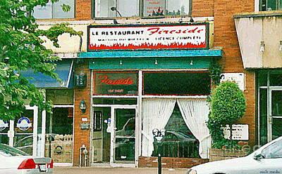 Montreal Chips Painting - Documenting Vintage Montreal Memories Fireside Restaurant Van Horne Street Scene Paintings C Spandau by Carole Spandau