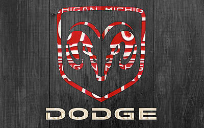 Dodge Vintage Logo License Plate Art Print by Design Turnpike