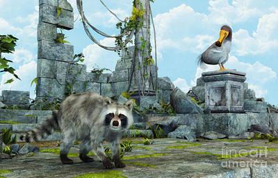 Raccoon Digital Art - Dodo Meets Raccoon by Jutta Maria Pusl