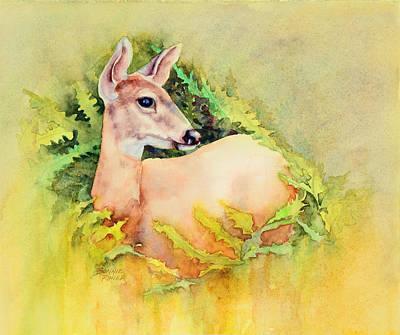 Ferns Painting - Doe In Ferns by Bonnie Rinier